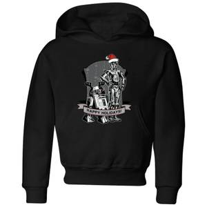 Star Wars Happy Holidays Droids Kids' Christmas Hoodie - Black
