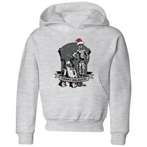 Star Wars Happy Holidays Droids Kids' Christmas Hoodie - Grey