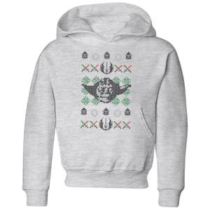 Star Wars Yoda Face Knit Kids' Christmas Hoodie - Grey