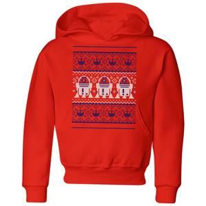 Felpa con cappuccio Star Wars R2-D2 Knit Christmas- Rosso - Bambini