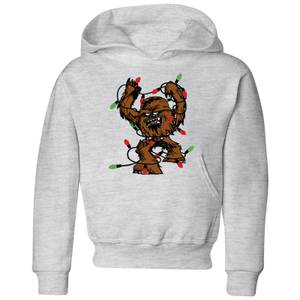 Star Wars Tangled Fairy Lights Chewbacca Kids' Christmas Hoodie - Grey