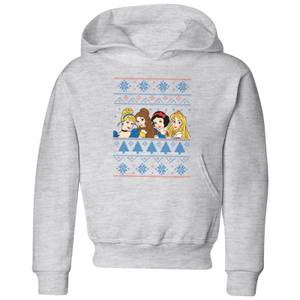 Disney Princess Faces Kids' Christmas Hoodie - Grey