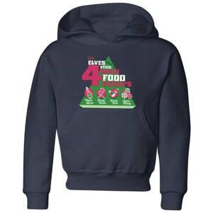 Elf Food Groups Kids' Christmas Hoodie - Navy