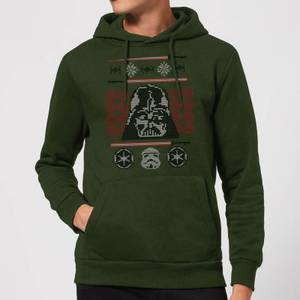 Star Wars Darth Vader Face Knit Christmas Hoodie - Forest Green