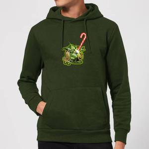 Star Wars Candy Cane Yoda Christmas Hoodie - Forest Green