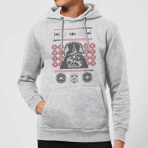 Star Wars Darth Vader Face Knit Christmas Hoodie - Grey