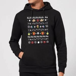 Muppets Pattern Christmas Hoodie - Black