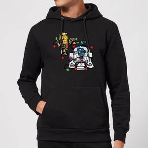 Star Wars Tangled Fairy Lights Droids Christmas Hoodie - Black