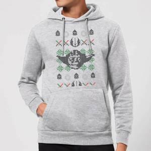 Star Wars Yoda Face Knit Christmas Hoodie - Grey
