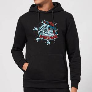 Marvel The Amazing Spider-Man Snowflake Web Christmas Hoodie - Black