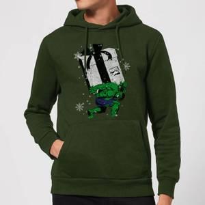 Marvel The Incredible Hulk Christmas Present Christmas Hoodie - Forest Green