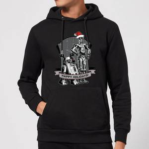 Star Wars Happy Holidays Droids Christmas Hoodie - Black