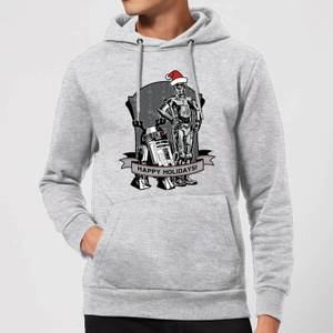 Star Wars Happy Holidays Droids Christmas Hoodie - Grey
