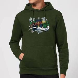 Marvel Thor Iron Man Hulk Snowflake Christmas Hoodie - Forest Green