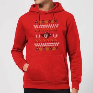 Star Wars Yoda Knit Christmas Hoodie - Red