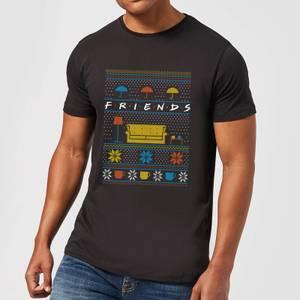 Friends Sofa Knit Men's Christmas T-Shirt - Black