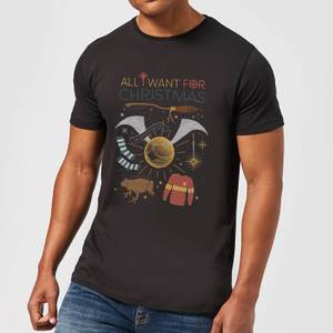 Harry Potter All I Want Men's Christmas T-Shirt - Black