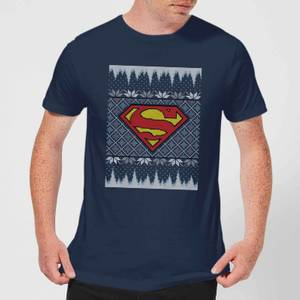 DC Superman Knit Men's Christmas T-Shirt - Navy