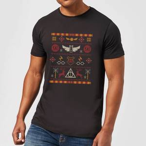 Harry Potter Knit Herren Christmas T-Shirt - Schwarz