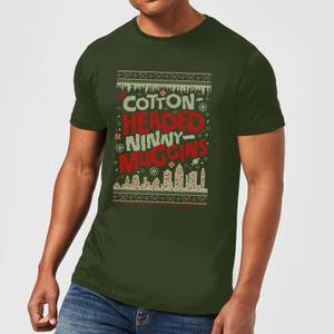 Elf Cotton-Headed-Ninny-Muggins Knit Men's Christmas T-Shirt - Forest Green