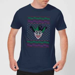 DC Joker Knit Men's Christmas T-Shirt - Navy