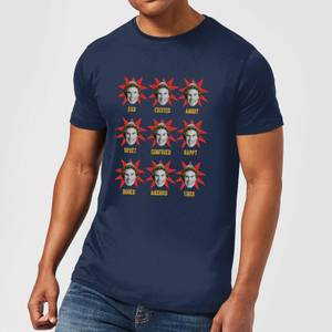 Elf Faces Men's Christmas T-Shirt - Navy