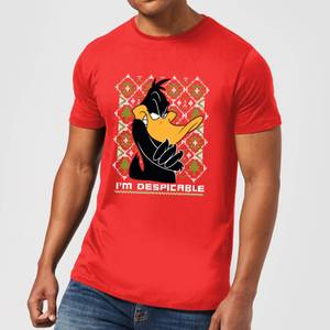 Looney Tunes Daffy Duck Knit Men's Christmas T-Shirt - Red