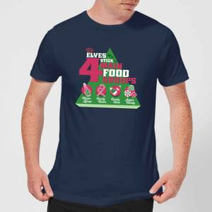 Elf Food Groups Men's Christmas T-Shirt - Navy