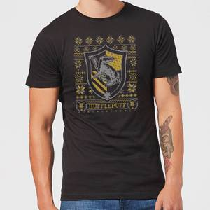 Harry Potter Hufflepuff Crest Men's Christmas T-Shirt - Black