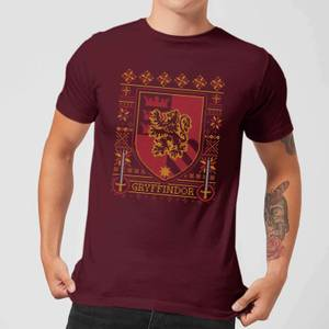 Harry Potter Gryffindor Crest Men's Christmas T-Shirt - Burgundy