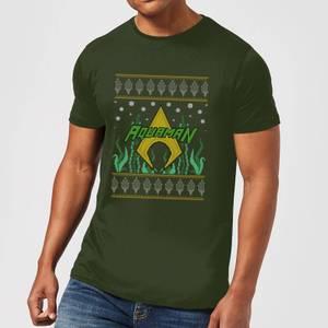 DC Aquaman Knit Herren Christmas T-Shirt - Dunkelgrün