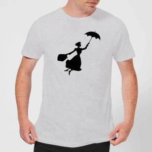Mary Poppins Flying Silhouette Men's Christmas T-Shirt - Grey