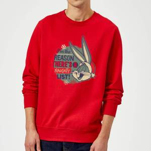 Looney Tunes I'm The Reason There Is A Naughty List Christmas Sweatshirt - Red