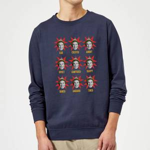Elf Faces Christmas Sweatshirt - Navy