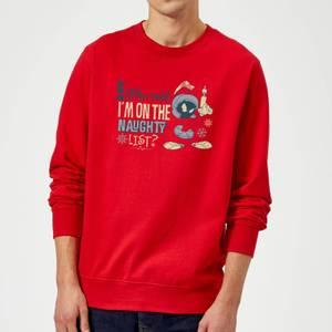 Looney Tunes Martian Who Said Im On The Naughty List Christmas Sweatshirt - Red