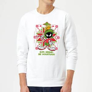 Looney Tunes Eat Drink Be Martian Christmas Sweatshirt - White