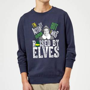 Elf Raised By Elves Christmas Sweatshirt - Navy
