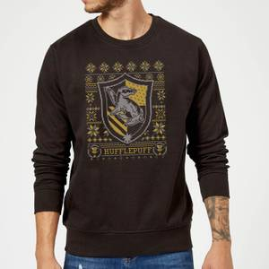 Harry Potter Hufflepuff Crest Christmas Sweatshirt - Black