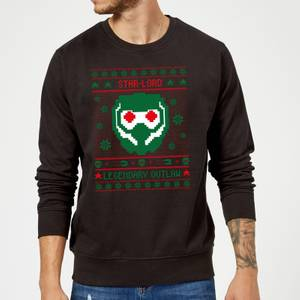 Guardians Of The Galaxy Star-Lord Pattern Christmas Sweater - Black