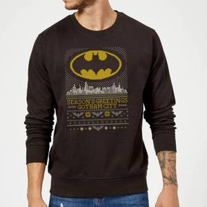 DC Seasons Greetings From Gotham Christmas Sweater - Black