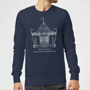 Mary Poppins Carousel Sketch Christmas Sweater - Navy