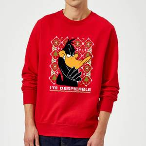 Looney Tunes Daffy Duck Knit Christmas Sweatshirt - Red
