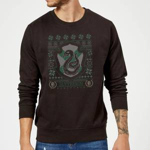 Harry Potter Slytherin Crest Christmas Sweatshirt - Black