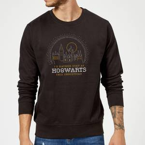 Harry Potter I'd Rather Stay At Hogwarts Christmas Sweatshirt - Black