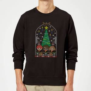 Harry Potter Hogwarts Tree Christmas Sweatshirt - Black