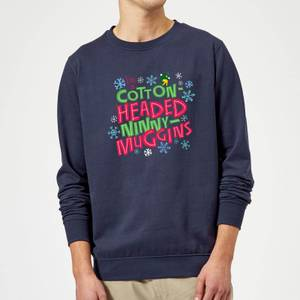 Elf Cotton-Headed Ninny-Muggins Christmas Sweatshirt - Navy