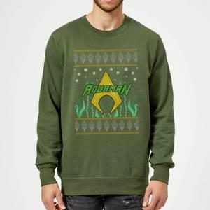DC Aquaman Knit Christmas Sweatshirt - Forest Green