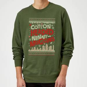 Elf Cotton-Headed-Ninny-Muggins Knit Christmas Sweatshirt - Forest Green
