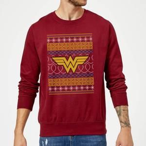 DC Wonder Woman Knit Christmas Sweatshirt - Burgundy