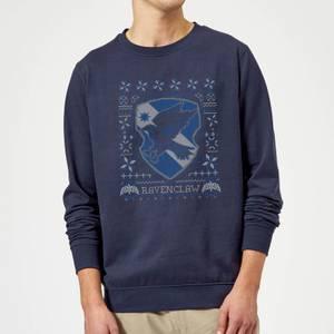 Harry Potter Ravenclaw Crest Christmas Sweatshirt - Navy